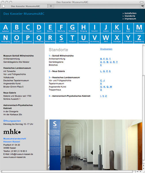 Detail of The Kassel Museums' ABC –<br/>Website